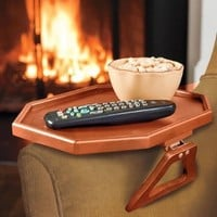 Wooden Clip-On Armchair Table with Protective Lip, in Cherry
