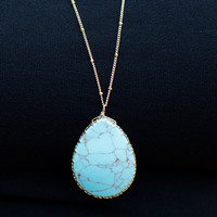 Turquoise Tear Drop Gold Chain Necklace