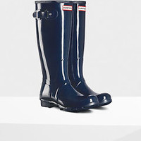 HUNTER ORIGINAL TALL GLOSS NAVY WELLINGTON BOOTS BLUE Welly NWT BN