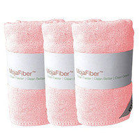 "Plush Microfiber Body/Face Cloth - Dual Action (exfoliate/cleanse): 3 Pk - 12""x12""- Soft Cleanse Side and Exfoliating Reverse Side - Remove Make up, Dirt, Oil & Dead Skin Cells with Just Water, Pink"