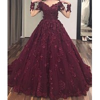 Dull Red Off the Shoulder Prom Dresses Flowers Applique Formal Evening Dress