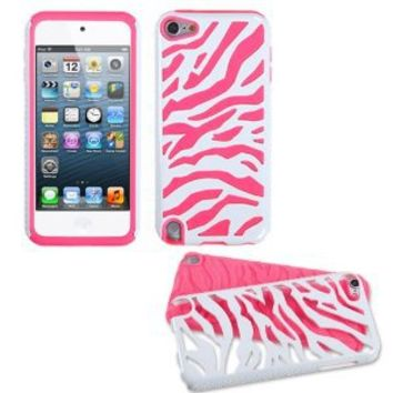 Fusion Dual Layer Hybrid White Zebra/Electric Pink Protector Case for Apple iPod Touch 5