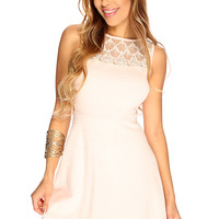 Baby Pink Texture Sleeveless A-Line Cute Summer Dress