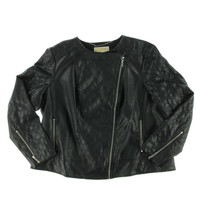 MICHAEL Michael Kors Womens Plus Faux Leather Long Sleeves Motorcycle Jacket
