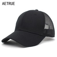 Trendy Winter Jacket AETRUE Summer Baseball Cap Female Mesh Men Caps For Women Snapback Gorras Casual Hip Hop Dad Casquette Male Baseball Hats Caps AT_92_12