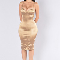 Stupid In Love Dress - Gold