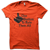 One Button To Rule Them All T-Shirt - gamer 80's t-shirt atari tee vintage tshirt nerd tee geek funny adult youth sizes