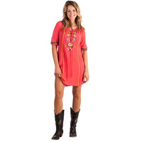 Women's Coral Embroidered Tunic