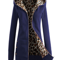 Hooded Leopard Print Inside Sweater with Button