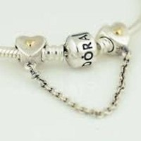 Pandora Charms Hearts and Crown Bracelet Safety Chain Authentic Pandora