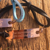 """Leather & Rose Gold Bracelet """"Mountains Are Calling"""""""