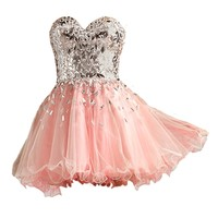 VILAVI Ball Gown Short Tulle Crystal Draped Graduation Dresses Size 10 Pink