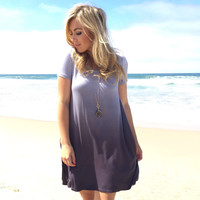Dip Dye Ombré Jersey Dress In Grey