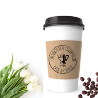 Wedding Coffee Cup Sleeve   Grounds For Celebration Stamp   Vintage Wedding Coffee Favor Bags   Coffee Wedding Favor   Coffee Sleeve Stamp