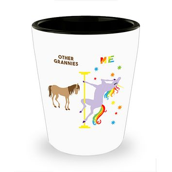 Granny Gifts for Grannies for Christmas Funny Pole Dancing Unicorn Ceramic Shot Glass