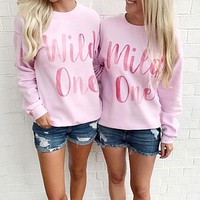 Mild One Wild One Watercolor Duo Sweatshirt Set