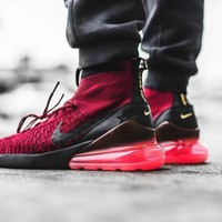 "Nike Air Footscape Magista Flyknit 270 ""Wine Red"" Socks Running Shoes AA6560-600"