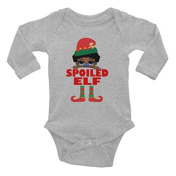 Spoiled Elf Infant Baby Boy Pacifier Onesuit Bodysuit African American Family Christmas Long Sleeve