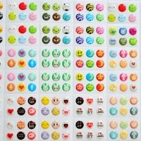 Love Cartoon Pattern Bubble Soft Rubber Home Button sticker for iPhone 4 4s Iphone 5 iPod touch 4 iPad 4/ 216pcs