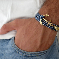 Men's Bracelet - Blue And White Fabric Bracelet With Gold Plated Anchor - Men's Jewelry - Nautical Jewelry - Anchor Jewelry
