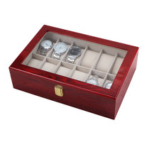 12 Grid Wood Watch Display Luxus Watchbox Box Case Transparent Skylight Red Box luxury Jewelry Collections Storage Display Case