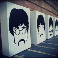 The Beatles - Sgt Peppers Minimal faces Stencil and Spraypaint on Canvas (x4)