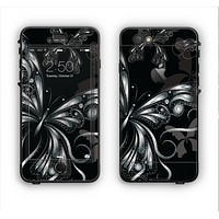 The Vibrant Black & Silver Butterfly Outline Apple iPhone 6 Plus LifeProof Nuud Case Skin Set