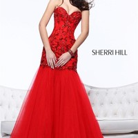 Red Organza Beaded Mermaid Evening Dress Prom Gown Formal Party Pageant Clothing