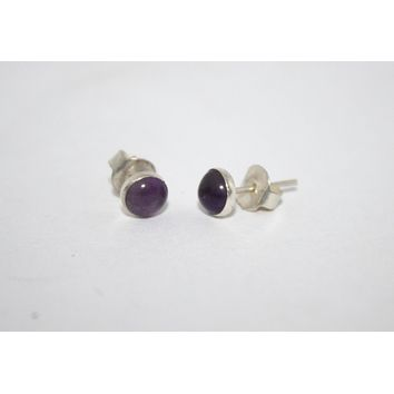 Sterling Silver Earrings, Stud Earrings, Amethyst Earrings, Gypsy Earrings