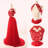 Red Lace Prom Dresses,Open Back Prom Dress,Evening Dresses
