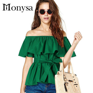 Off Shoulder Women Tops And Blouses New Fashion Ruffles Cotton Shirts Summer Plus Size Women Clothing Green Black