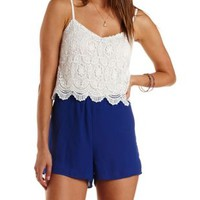 White Combo Crochet & Chiffon Color Block Romper by Charlotte Russe