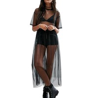 Mesh Swimsuits Cover-Up  Dress Sheer Cover Up