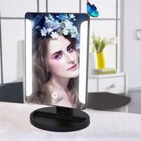 Fashion LED Lamp Makeup Mirror USB Power Portable Folding Vanity Tabletop Lighted Cosmetic Mirror Tools Black White Color