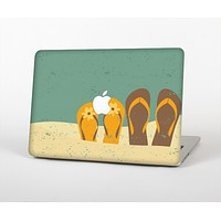 """The Vintage His & Her Flip Flops Beach Scene Skin Set for the Apple MacBook Pro 15"""" with Retina Display"""