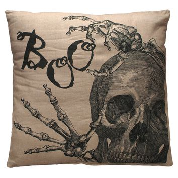 Boo Skull Throw Pillow