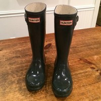 kids army green Hunter boots