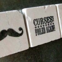 Mustache Tile Magnets Set of 3 Ready to Ship by MyLittleChick
