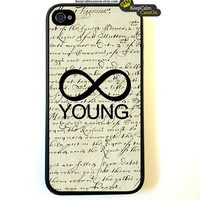 iPhone 4 Case, VIntage Forever Young Case Hard Fitted Case For iphone 4 & iphone 4S.