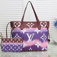 Louis Vuitton Rainbow Print LV Gradient Internal Stripe Shoulder Bag Shopping Bag purple