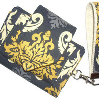 Wristlet Wallet with matching key fob and clear ID pocket - Joel Dewberry aviary 2 - Damask in Granite