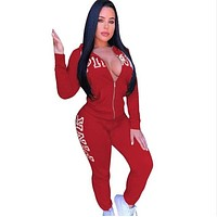 Letter Pink Print Two Piece Set Tracksuit Spring Women Casual Hooded Zipper Coat + Pants Outfits fashion Sportwear Clothing