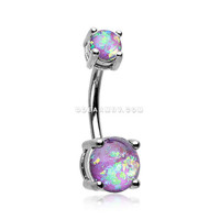 Opal Sparkle Prong Set Belly Button Ring (Purple)