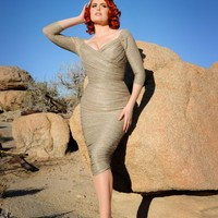 Monica Dress in Champagne and Silver Lurex Knit