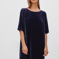 Velvet Half-sleeve One Piece Dress [7831028039]