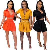 Cute Mini Skirt Short Sleeve Upper V-Neck Club Outfits