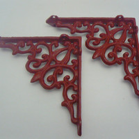 Wall Bracket Cast Iron Shelf Ornate Brace Colonial French Red Decorative Brackets 1 Pair (2 individual brackets)