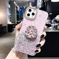 Diamond Glitter Silicone Phone Case With Ring Holder iPhone Samsung