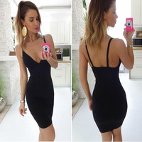 Black V-Neck Sleeveless Backless Bodycon Dress