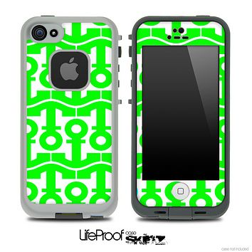 White and Lime Green Anchor Collage Skin for the iPhone 5 or 4/4s LifeProof Case